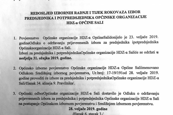 Izbori za predsjednika i potpredsjednika Općinske organizacije HDZ-a Sali